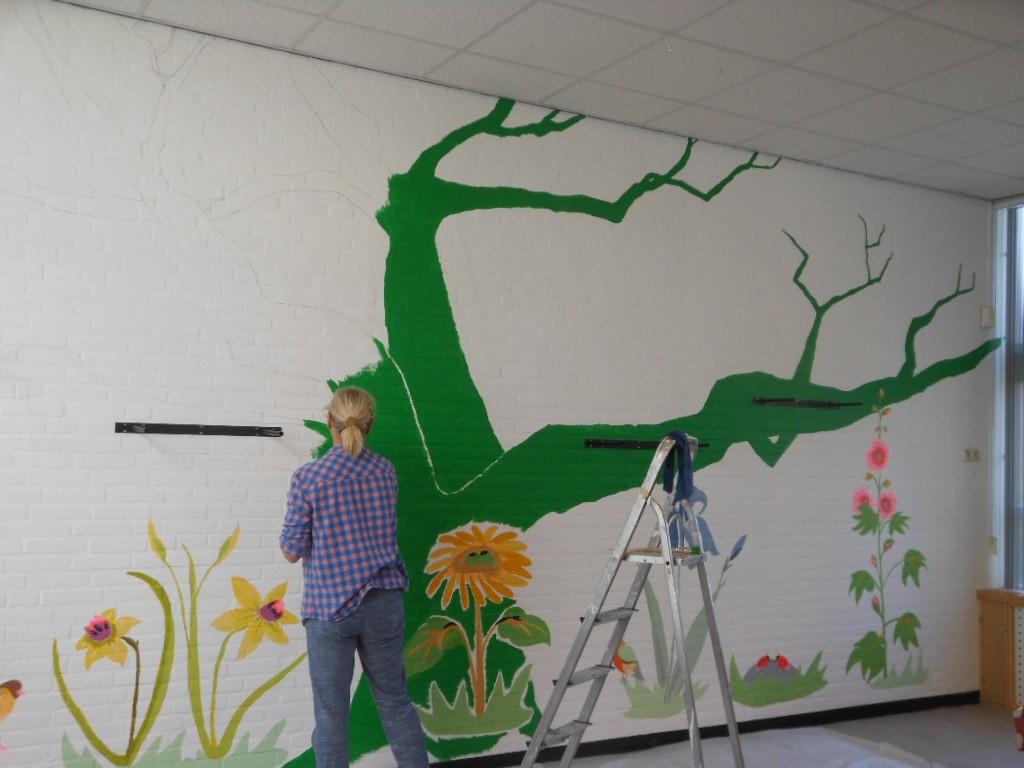 muurschildering bij kinderopvang