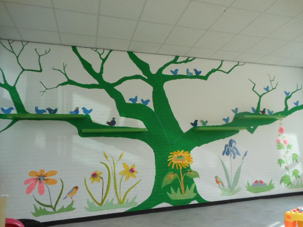 muurschilderig bij kinderopvang