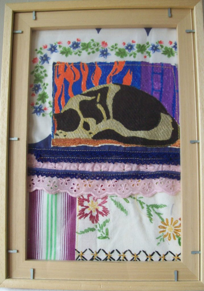 Upcycling collage Slapende poes