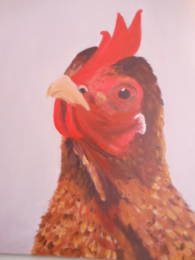 Schilderij portret Kip