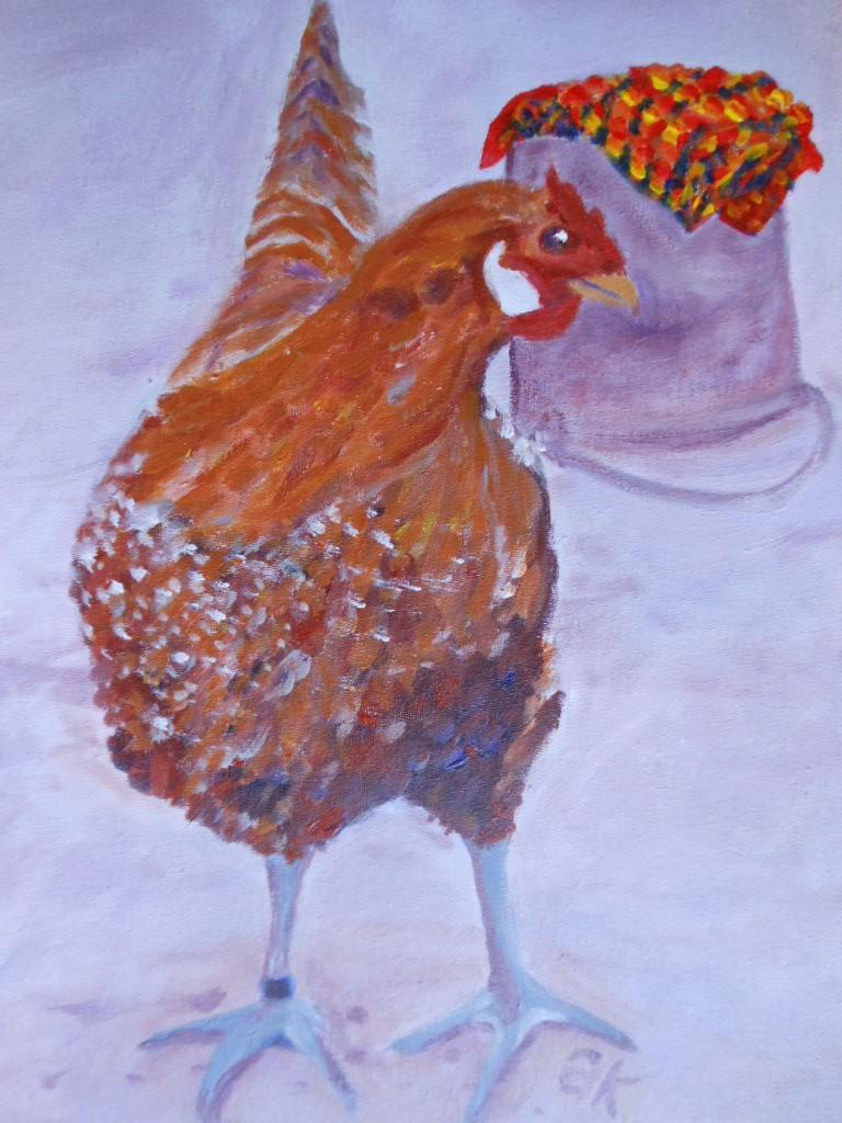 Schilderij kip met emmer