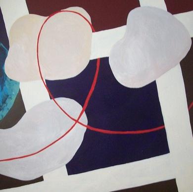 Schilderij abstract met stenen