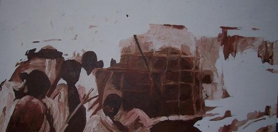 schilderij overstroming Bangladesh