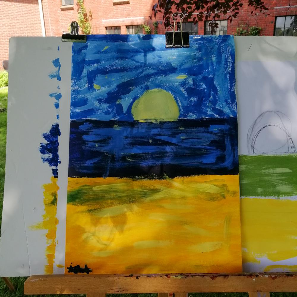 Schilderen met kinderen - landschap - 2020 - zon