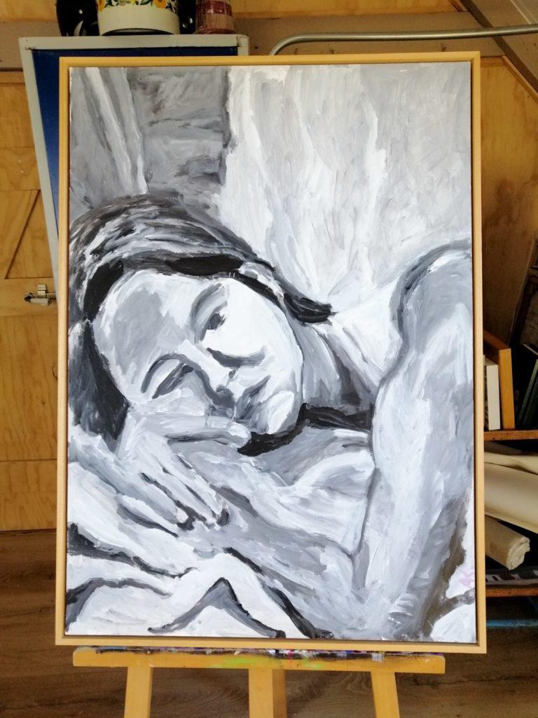 Schilderij zwart wit portret